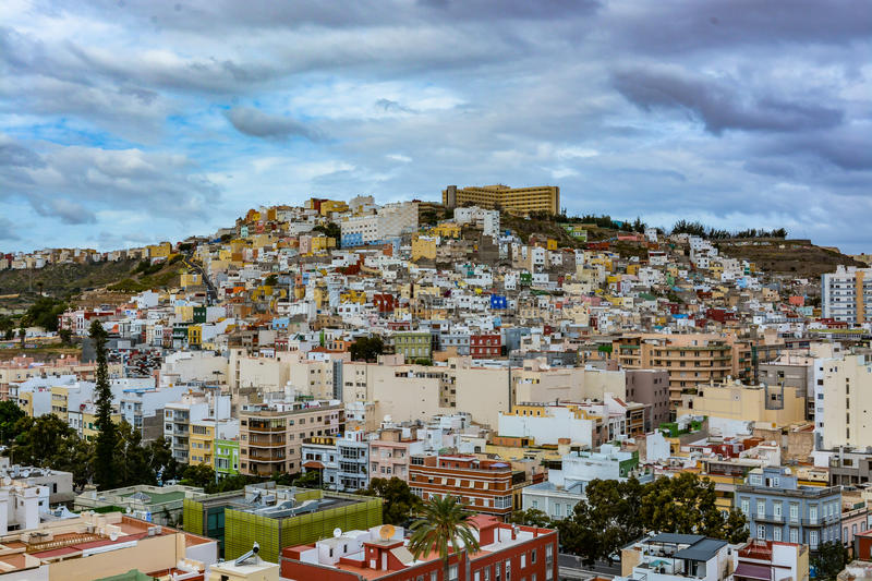Panoramic view of Las Palmas de Gran Canaria on a beautiful day, view from the Cathedral of Santa Ana. In Vegueta district stock photo