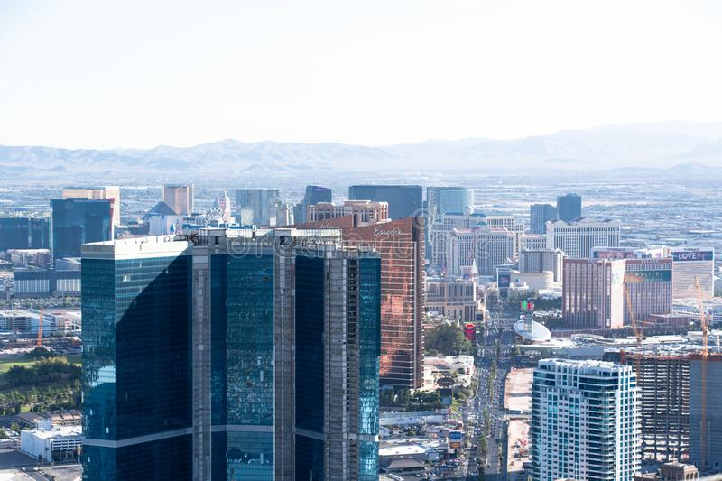 Las Vegas, NV, USA 09032018: cityscape from the stratosphere tower during the day with mountains in the background royalty free stock image