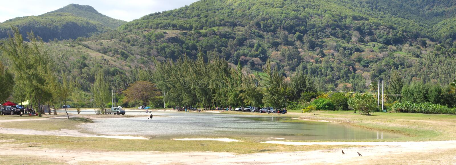 Panoramic View From Le Morne Public Beach Editorial Stock Image