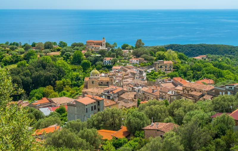 Panoramic view of Lentiscosa, Salerno. Cilento, Campania, Italy. Cilento is an Italian geographical region of Campania in the central and southern part of the royalty free stock photo