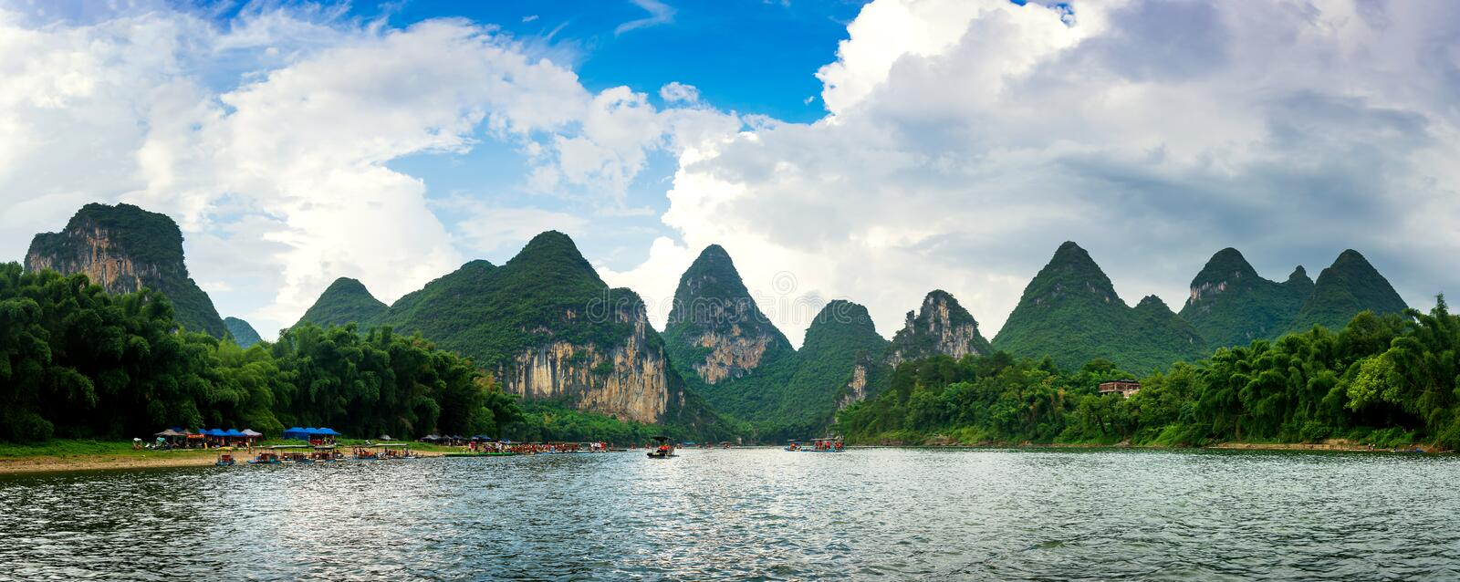 Panoramic view of Li river scenic cruise in China. Panoramic view of Li river scenic cruise in Yangshuo, China royalty free stock images
