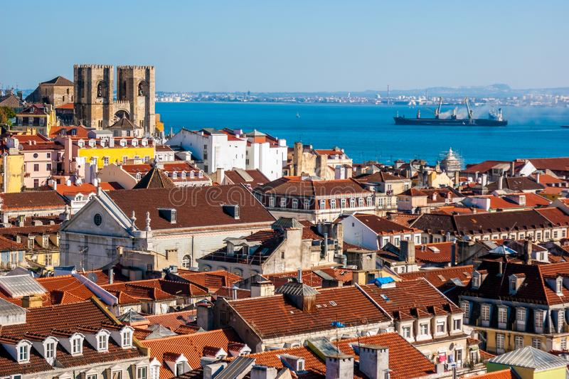 Panoramic view of Lisbon, Portugal stock photos