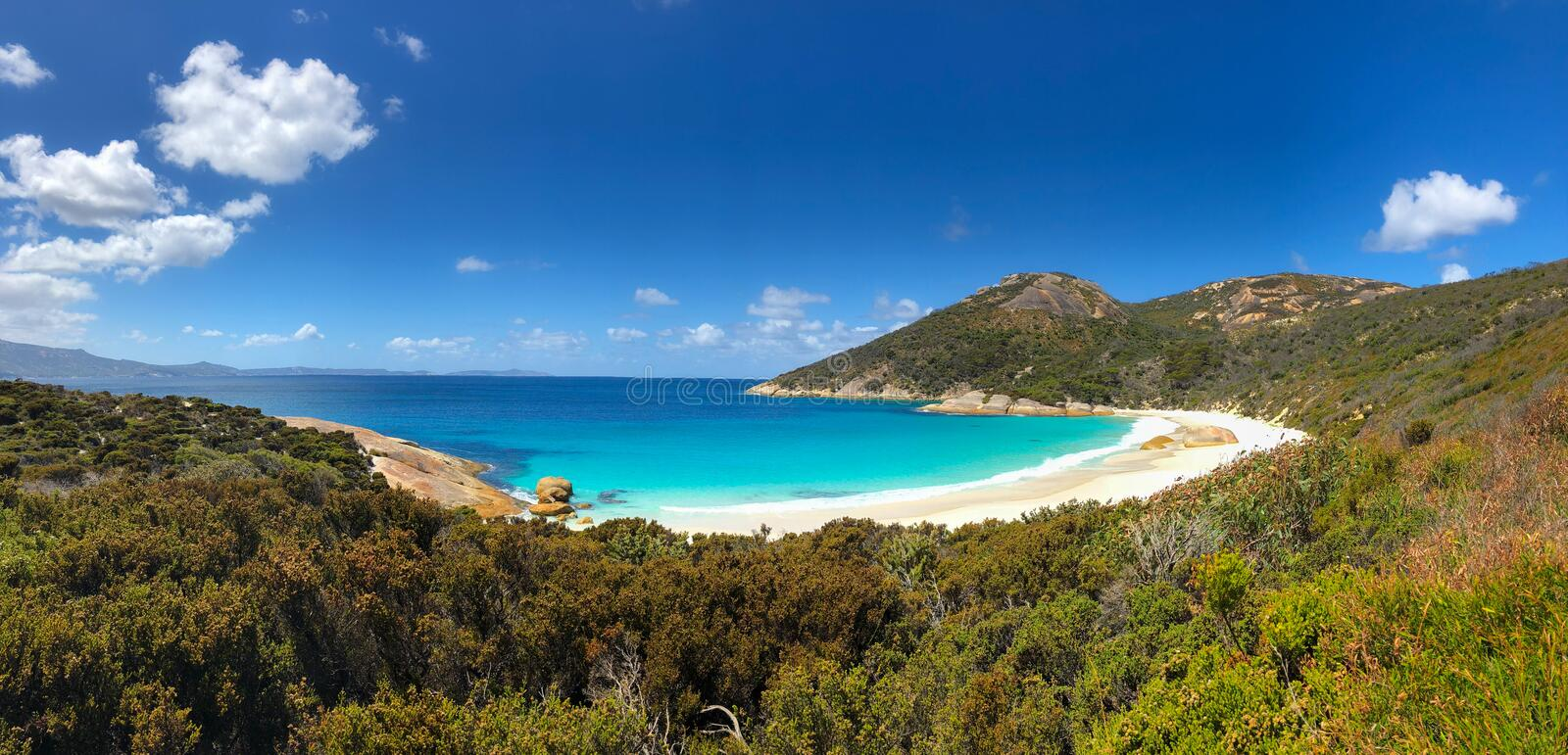 Panoramic view of Little Beach with white powdery sand at Two pe. Panoramic view of Little Beach with white powdery sand, beautiful sapphire blue shade of sea stock photo