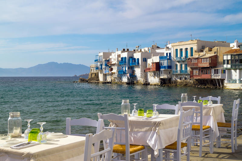 Panoramic view of little Venice on Mykonos Island royalty free stock image