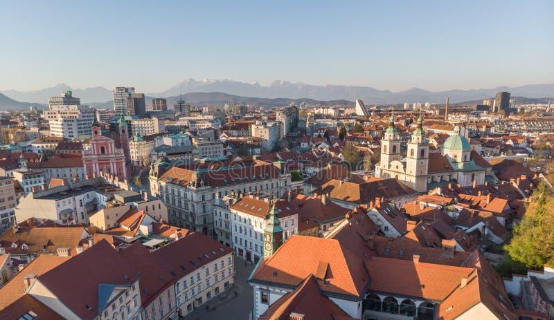 Panoramic view of Ljubljana, capital of Slovenia, at sunset. Empty streets of Slovenian capital during corona virus stock images