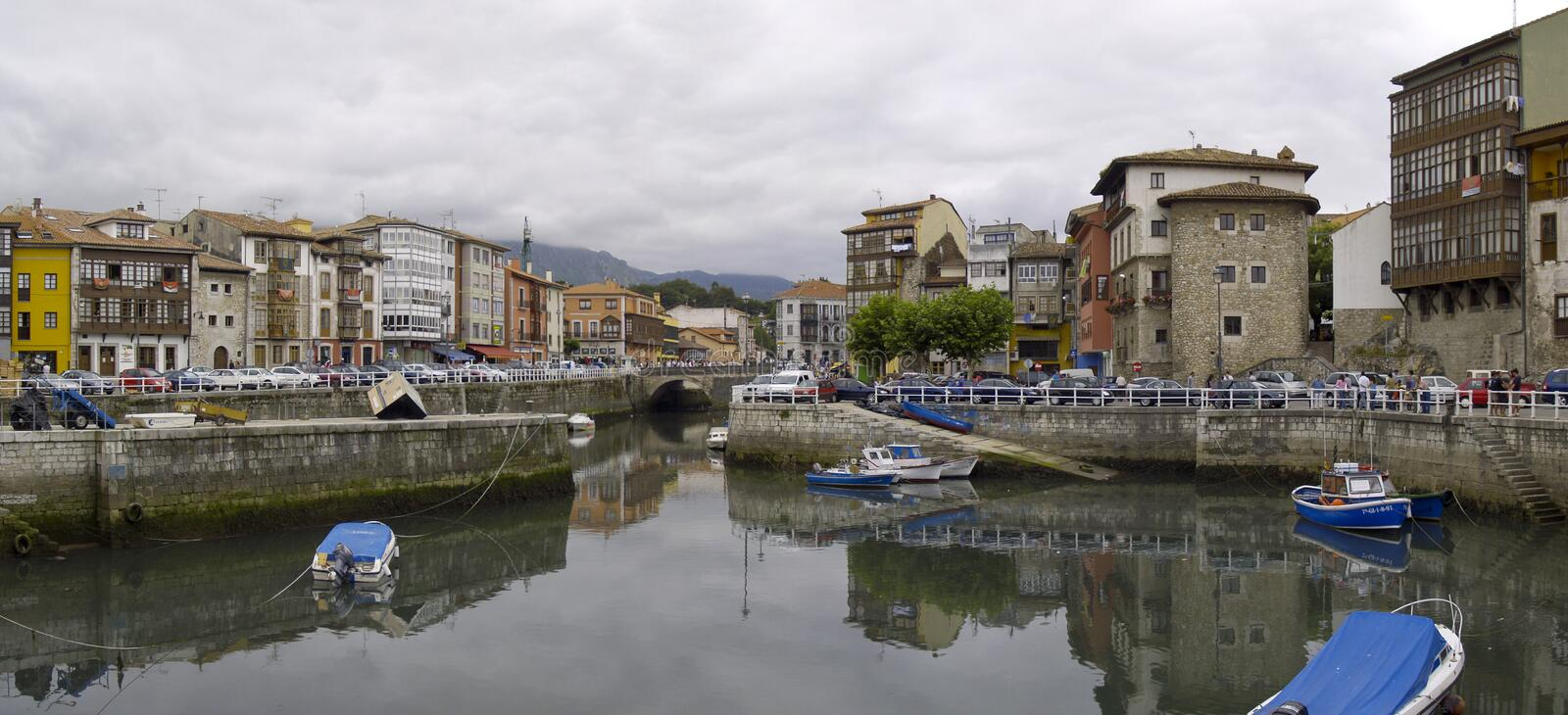 Panoramic view of Llanes in the afternoon royalty free stock photography