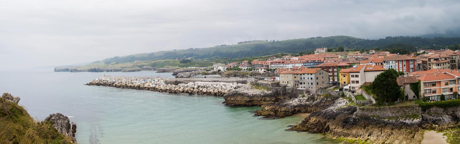 Panoramic view of Llanes, Spain stock photography