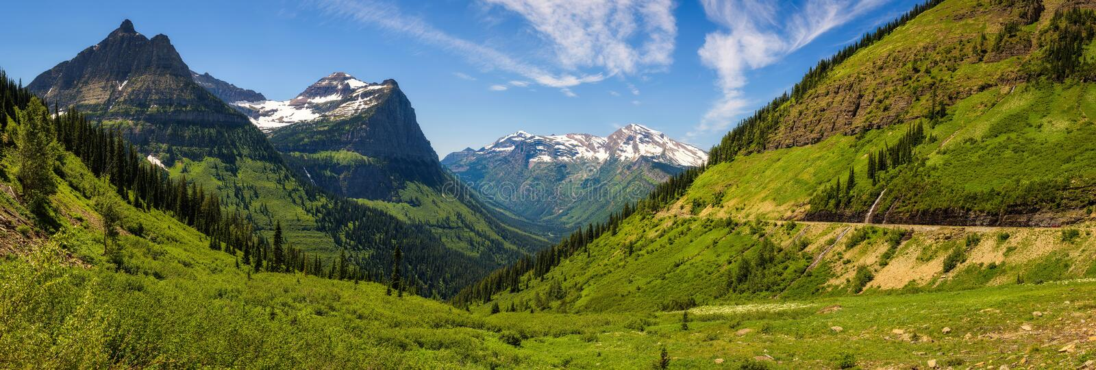 Panoramic view of Logan Pass in Glacier National Park, Montana stock photos