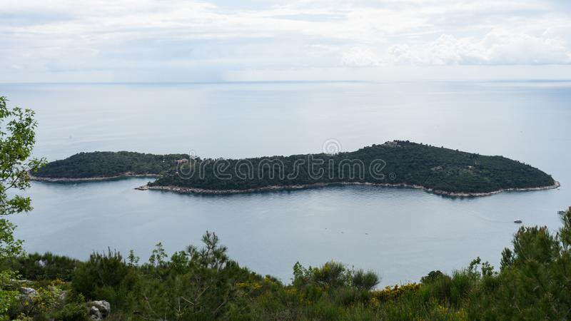 Panoramic view of Lokrum Island Dalmatian Coast of Adriatic Sea in Dubrovnik. Blue sea, beautiful landscape, aerial view, stock photos