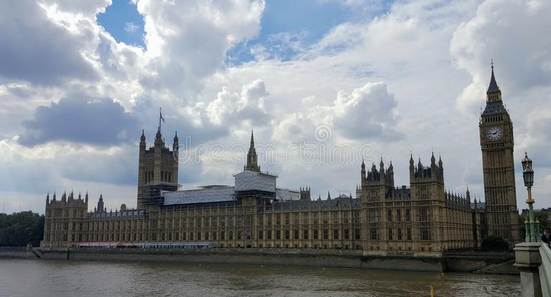 Panoramic view of the london parliament. From the oposite coast royalty free stock photography