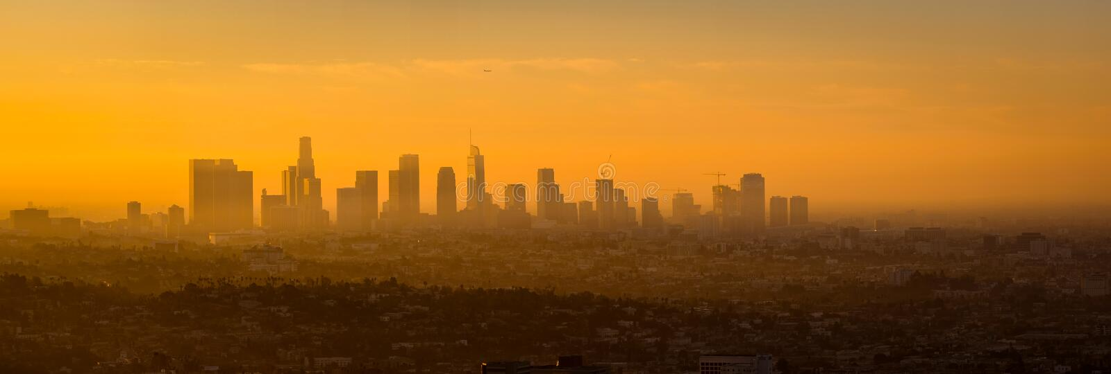 Panoramic view of Los Angeles skyline at sunrise. Viewed from Griffith observatory, California, USA royalty free stock photo