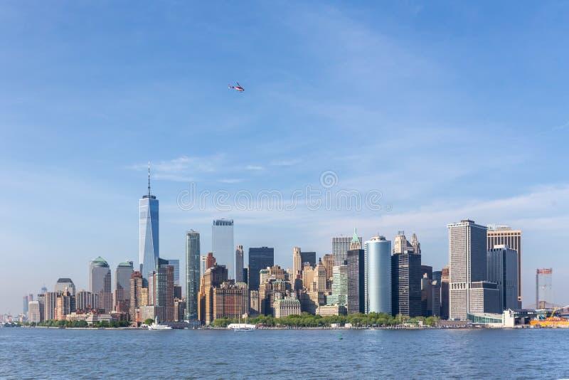 Panoramic view of Lower Manhattan, New York City, USA stock image
