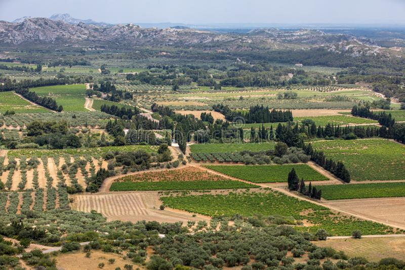 Panoramic view on Luberon valley from the famous Les Baux de Provence medieval village in Southern France. stock images