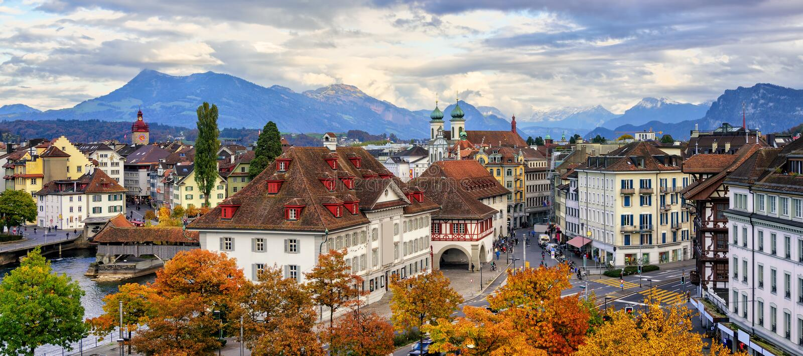 Panoramic view of Lucerne old town, Switzerland royalty free stock images