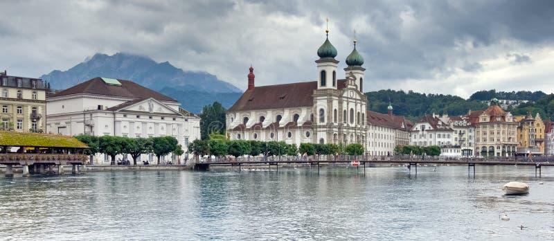Panoramic view of Lucerne and Mount Pilatus, Switzerland stock photo