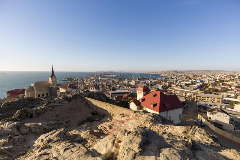 Panoramic view of Luderitz town. In Namibia royalty free stock image
