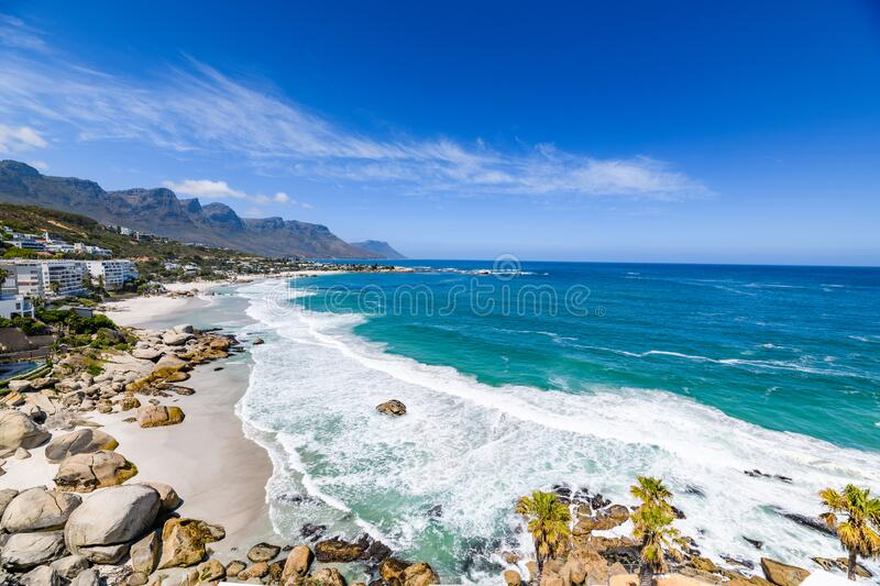 A panoramic view looking down on the beautiful white sand beaches of clifton in the capetown area of south africa.2. A panoramic view from the luxury apartments stock photos
