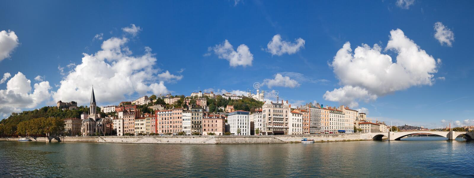 Panoramic View of Lyon, Saone River and Fourviere. Lyon, France - Panoramic View of Vieux Lyon, Saone River and Fourviere. Colorful Houses. Clear Blue Sky royalty free stock image