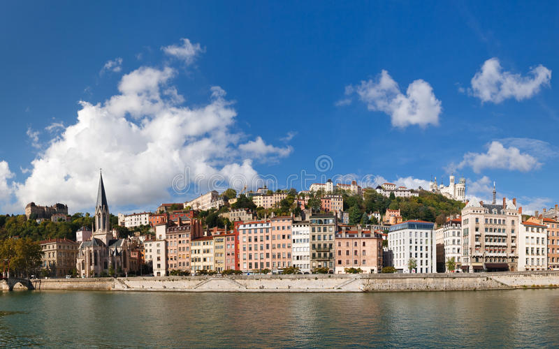 Panoramic View of Lyon, Saone River and Fourviere. Lyon, France - Panoramic View of Vieux Lyon, Saone River and Fourviere. Colorful Houses. Clear Blue Sky royalty free stock photo