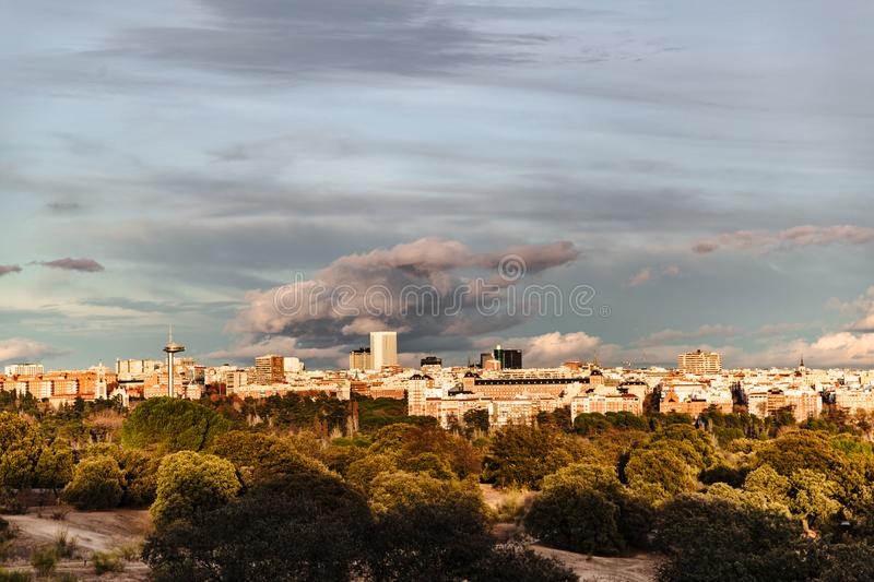 Panoramic view of Madrid from hills of park stock photos