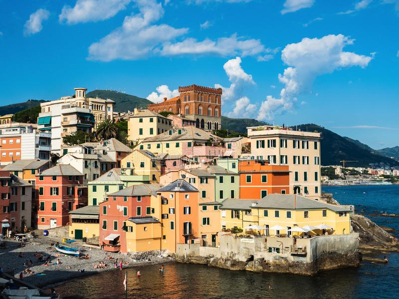 Panoramic view of the magnificent Italian city of Genoa royalty free stock photos