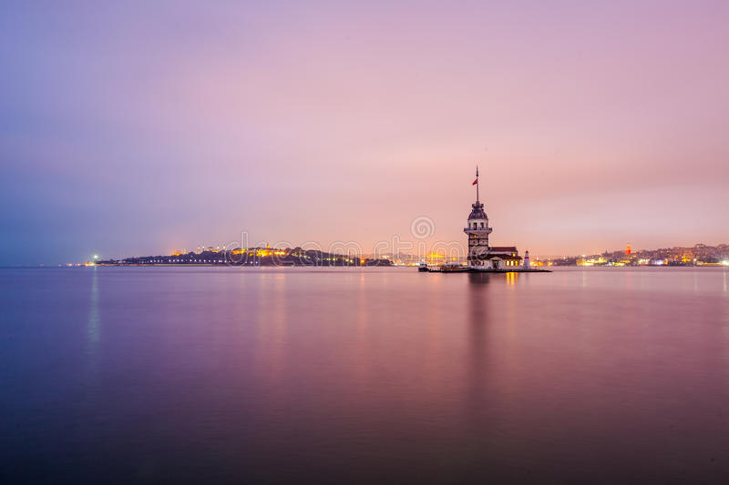 Panoramic view of Maiden`s Tower. In Long Exposure stock photography