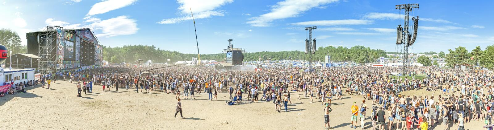 Panoramic view of main stage of the 21th Woodstock Festival Poland. Kostrzyn nad Odra, Poland - August 1, 2015: Panoramic view of main stage of the 21th stock photo