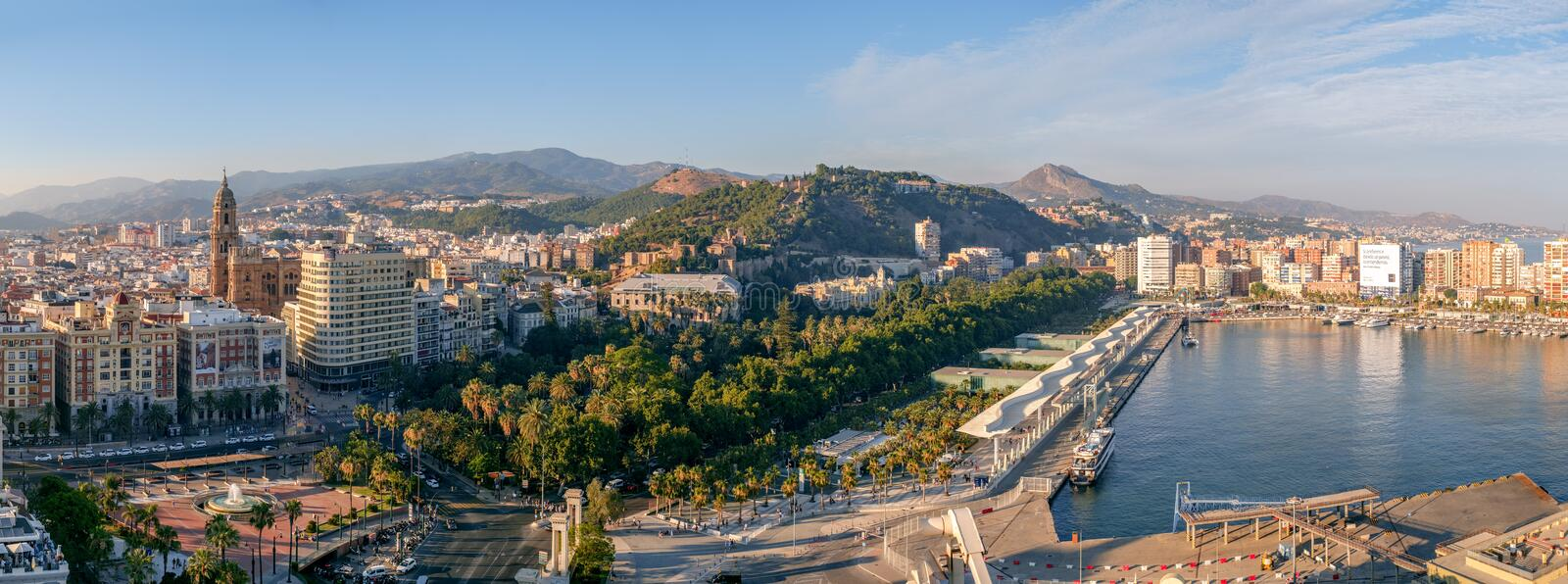 Panoramic view of the Malaga city royalty free stock images