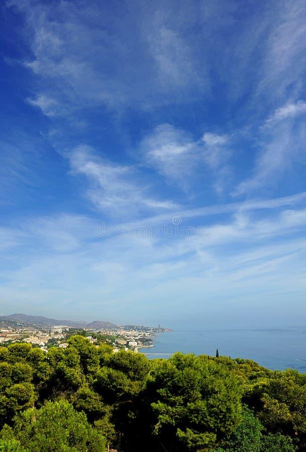 Panoramic view of Malaga, El Palo, Andalusia, Spain royalty free stock photography
