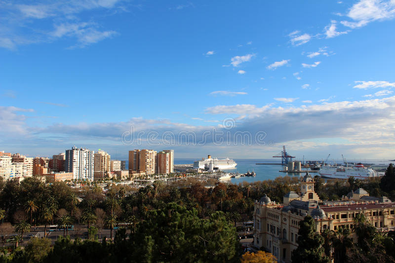 Panoramic view of Malaga Port, Spain stock images