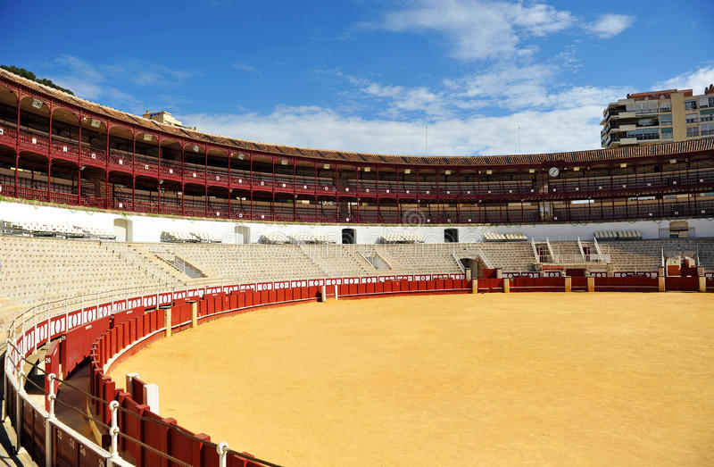 Panoramic view of Malagueta, the Malaga bullring, Andalusia, Spain. Inside the bullring in Malaga called Malagueta, bullfighting, Costa del Sol, Andalusia, Spain royalty free stock photography