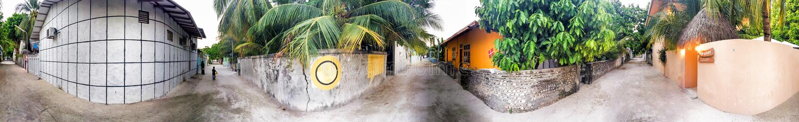 Panoramic view of Maldivian Island streets.  royalty free stock photo