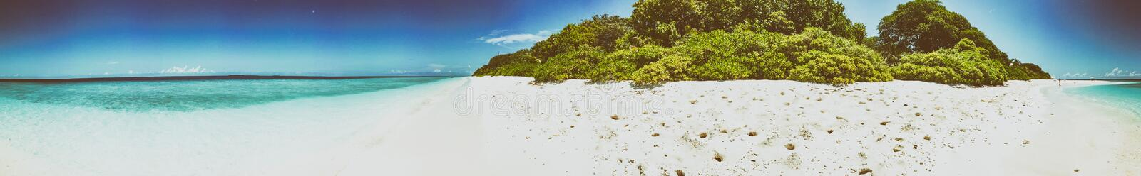 Panoramic view of Maldivian Sea and Island.  stock image