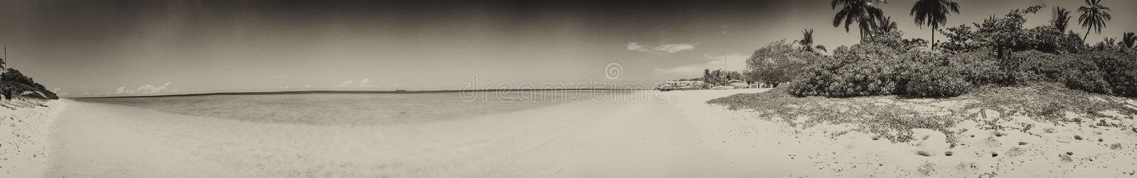 Panoramic view of Maldivian Sea and Island.  royalty free stock images