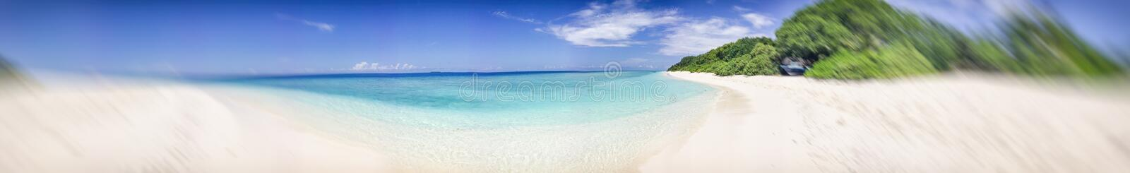 Panoramic view of Maldivian Sea and Island.  stock photography