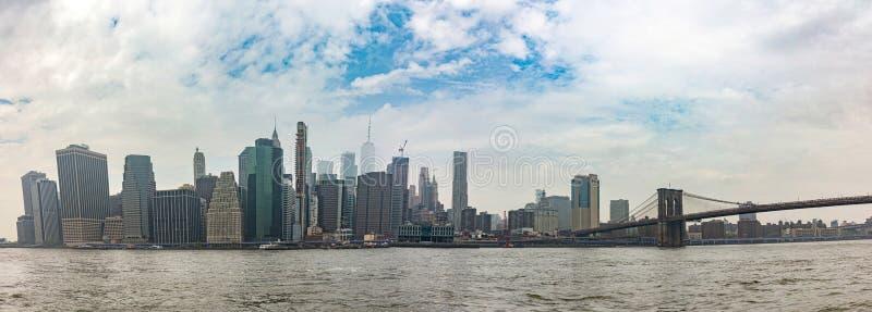 Panoramic view of Manhattan skyscrapers, New York city, sunny spring day stock photos