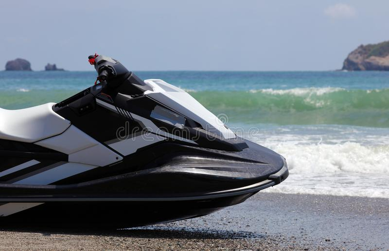 Jet ski at Manuel Antonio national park beach in Costa Rica, most beautiful beaches in the world, surfer beaches in America. Panoramic view of Manuel Antonio stock photo