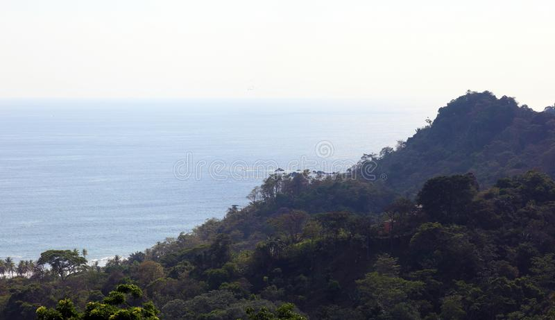 Panoramic view of Manuel Antonio national park beach in Costa Rica, most beautiful beaches in the world, surfer beaches in America. Panoramic view of Manuel stock image