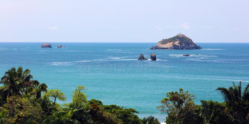 Panoramic view of Manuel Antonio national park beach in Costa Rica, most beautiful beaches in the world. Central America pacific ocean stock photos