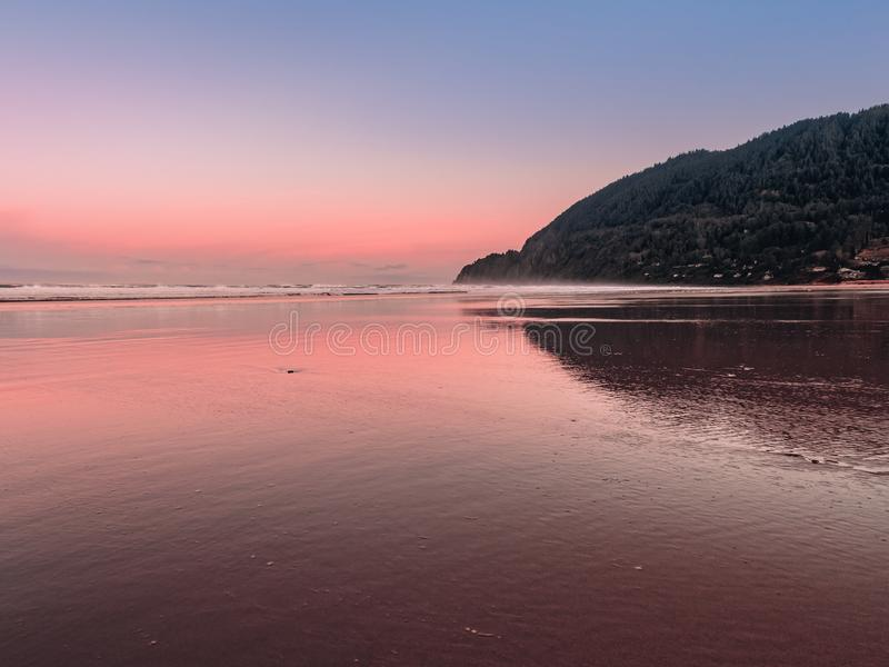 Panoramic view of Manzanita Beach and Neahkahnie Point in Oregon royalty free stock photos