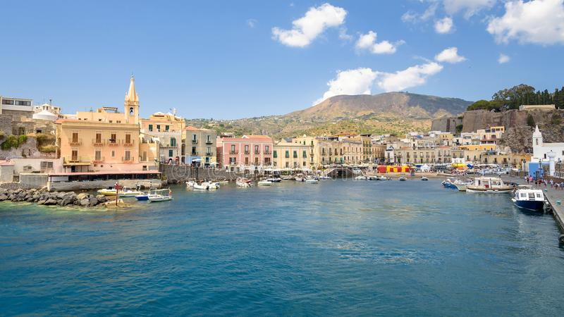 Panoramic view of Marina Corta in Lipari town stock image