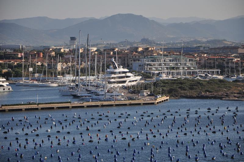 Panoramic view of Marina di Olbia Harbour with yacht. Olbia sardinia, june 27, 2019 : Panoramic view of Marina di Olbia Harbour with yacht stock photos