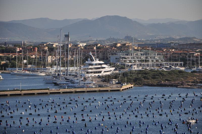 Panoramic view of Marina di Olbia Harbour with yacht. Olbia sardinia, june 27, 2019 : Panoramic view of Marina di Olbia Harbour with yacht stock photo