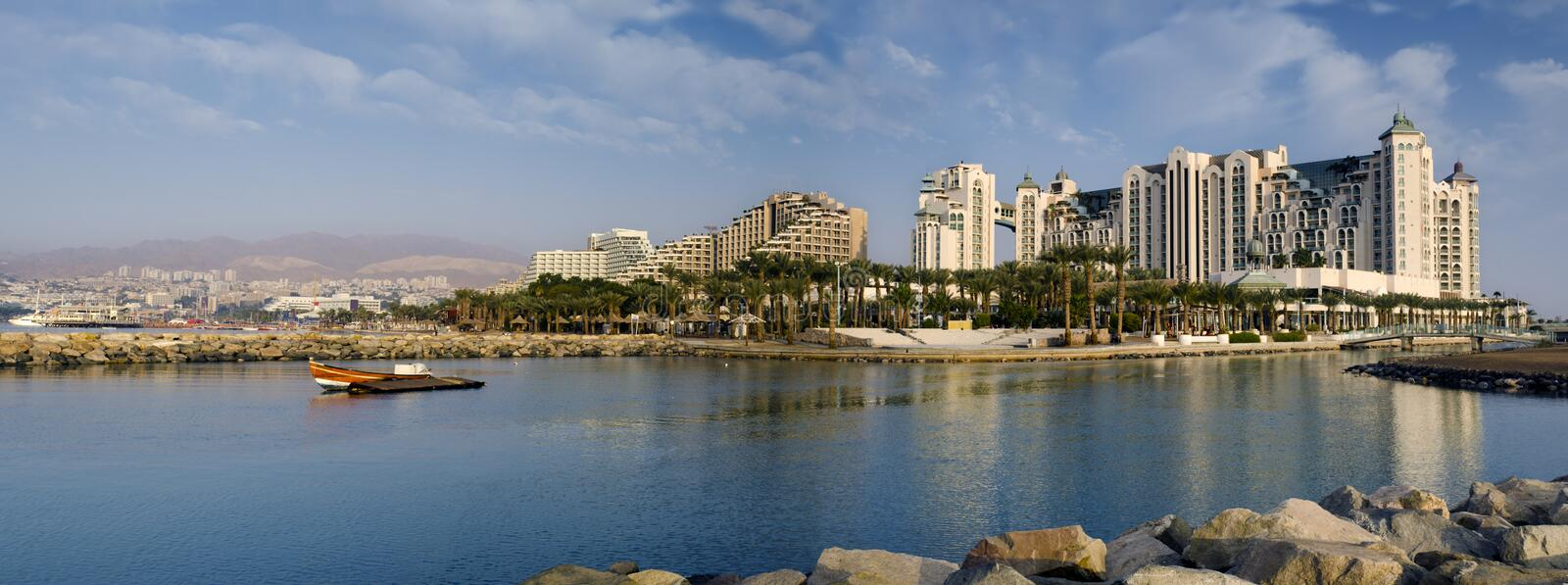 Panoramic view on marina in Eilat, Israel. Eilat is a popular resort and recreation Israeli town located on northern part of the Aqaba gulf, Red Sea royalty free stock photo