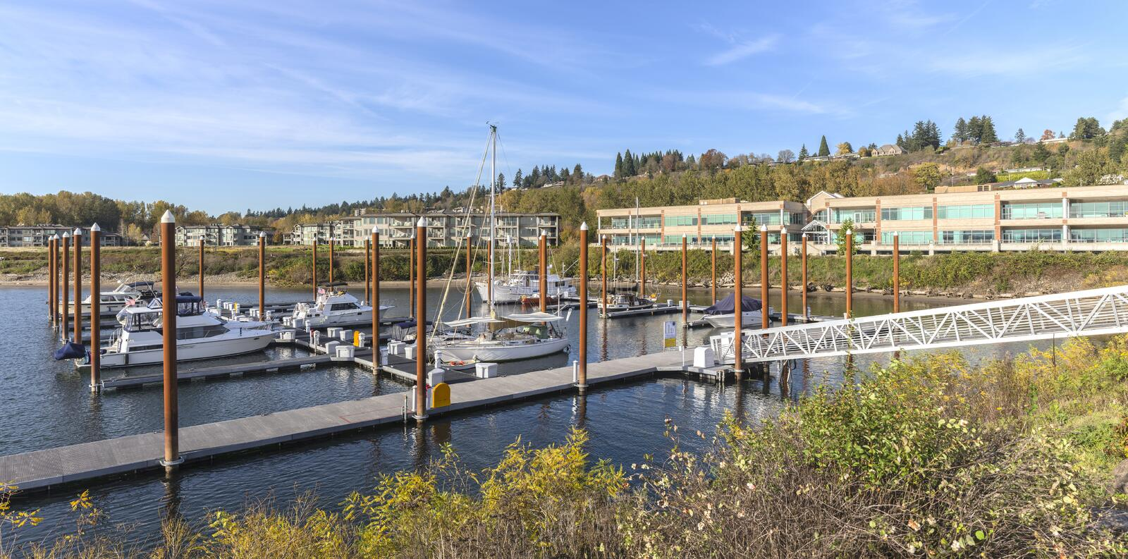 Panoramic view of a marina and residential buildings Vancouver WA. stock photos