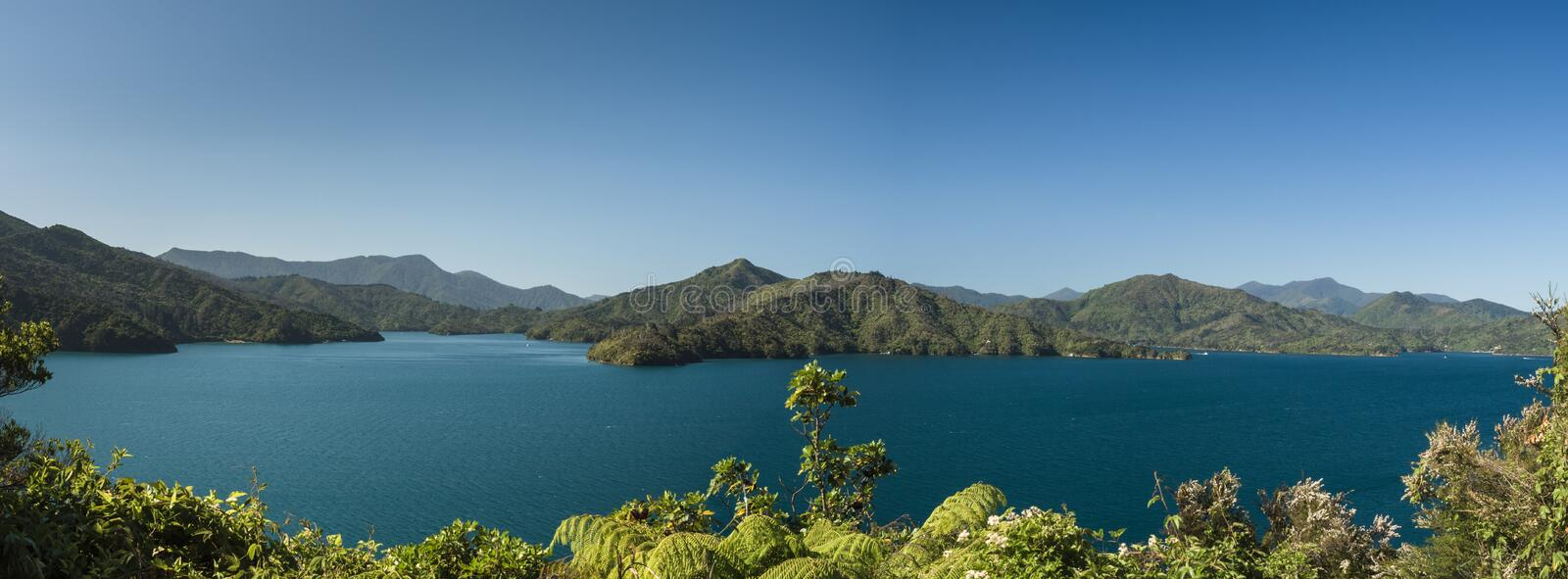 Panoramic view of the Marlborough Sounds, New Zealand stock images
