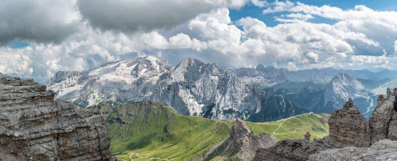 Panoramic view on Marmolada peak, the highest peak in Dolomites. Mountain range in Italy stock photos