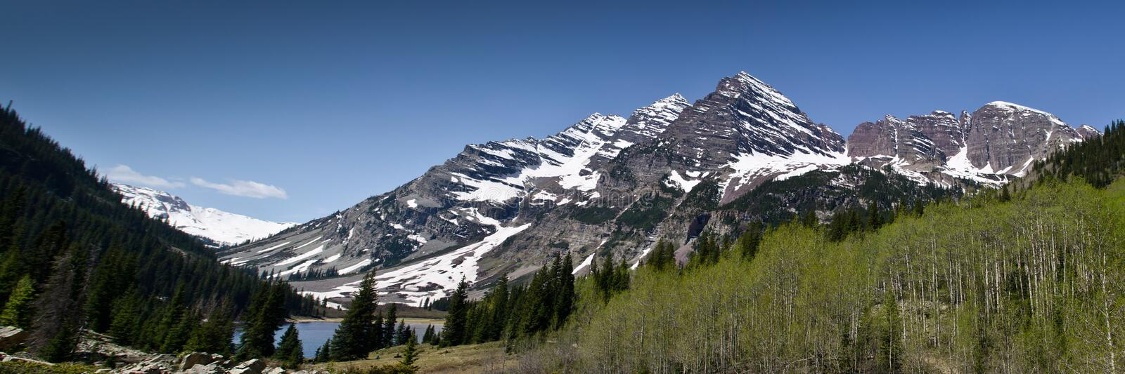 Panoramic view of Maroon Bells stock photography