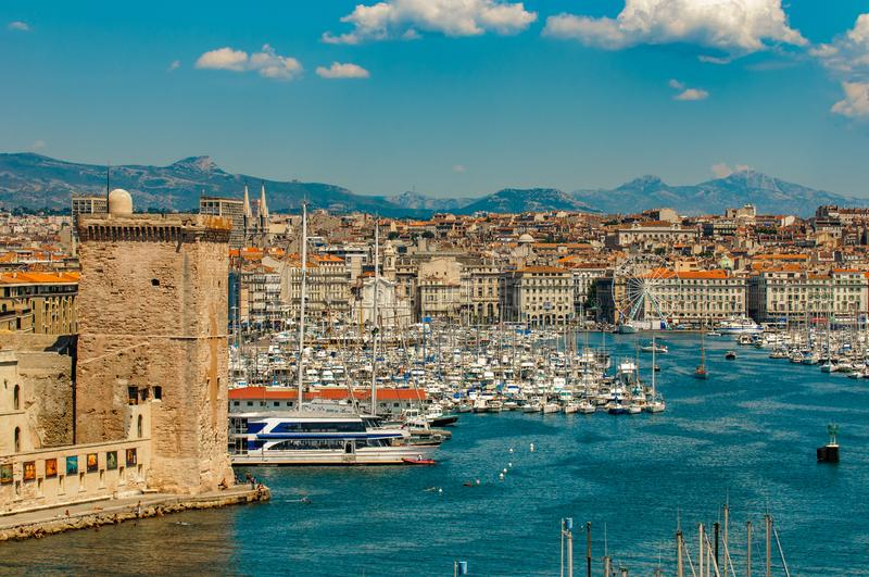 Panoramic view of Marseille and old port royalty free stock image