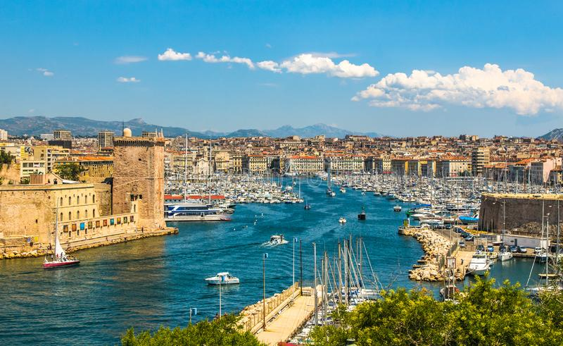 Panoramic view of Marseille and old port royalty free stock images